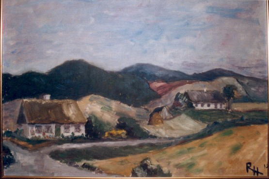 Maleri af Det Røde Hus begået i 1912 af Ragnhild Hansen, datter af ejeren af Sønderby Kro